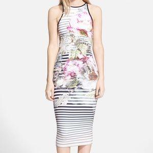 Ted Baker 'Laya Peony' Stripe Midi Dress
